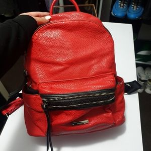 Nine West red faux leather black zippper backpack